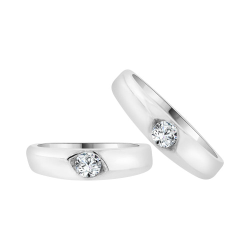 14k White Gold, His & Her Matching Wedding Promise Ring Bands Cubic Zirconia (R056-073)