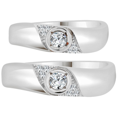 14k White Gold, His & Her Matching Wedding Promise Ring Bands Cubic Zirconia (R056-074)