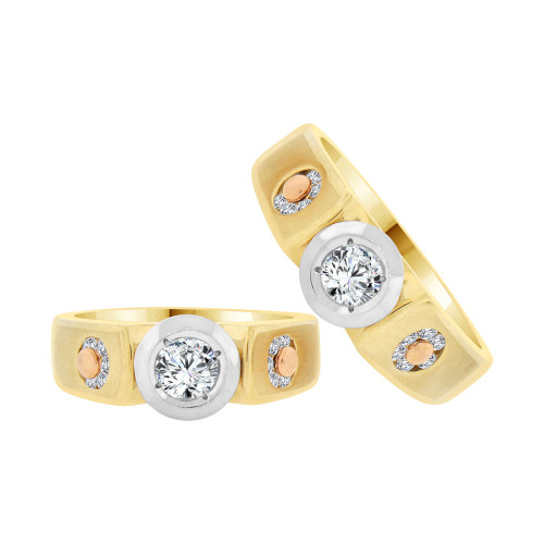 14k Tricolor Gold, His & Her Duo 2 Piece His & Her Matching Bands Ring Set Cubic Zirconia (R057-003)