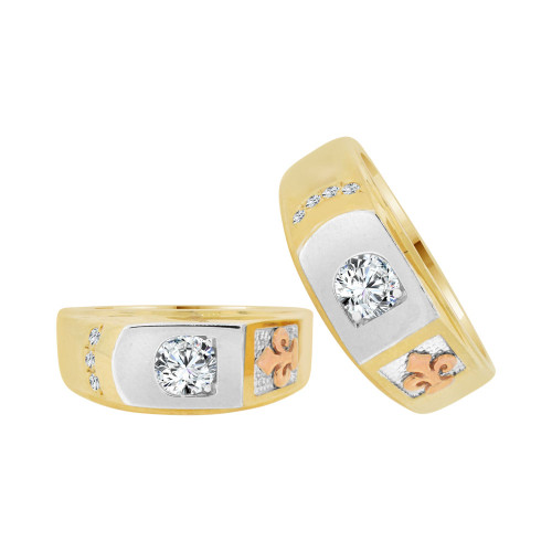14k Tricolor Gold, His & Her Duo 2 Piece Matching Bands Ring Set Cubic Zirconia (R057-004)
