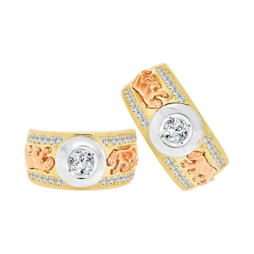 14k Tricolor Gold, His & Her Panther Design Duo Matching Bands Ring Set Cubic Zirconia (R057-005)