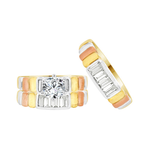 14k Tricolor Gold, Trio 3 Piece Wedding Ring Set Round Cubic Zirconia 1.0ct (R057-006)