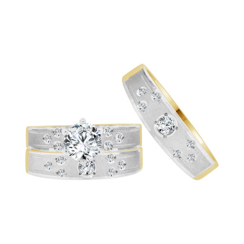 14k Yellow & White Gold, Trio 3 Piece Wedding Ring Set Round Cubic Zirconia 1.0ct (R057-007)
