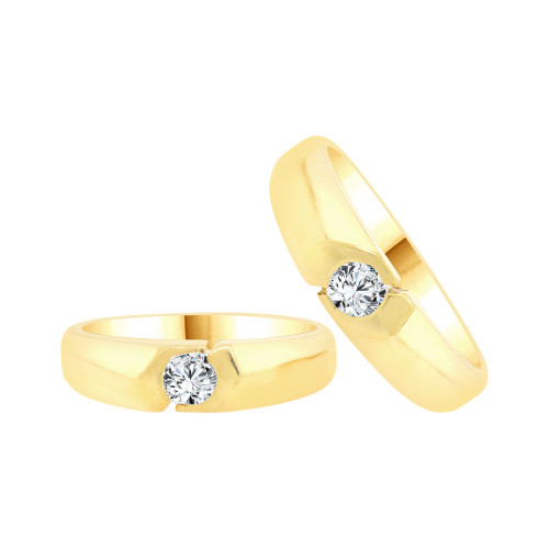 14k Yellow Gold, His & Her Duo 2 Piece Matching Bands Ring Set Cubic Zirconia (R057-008)