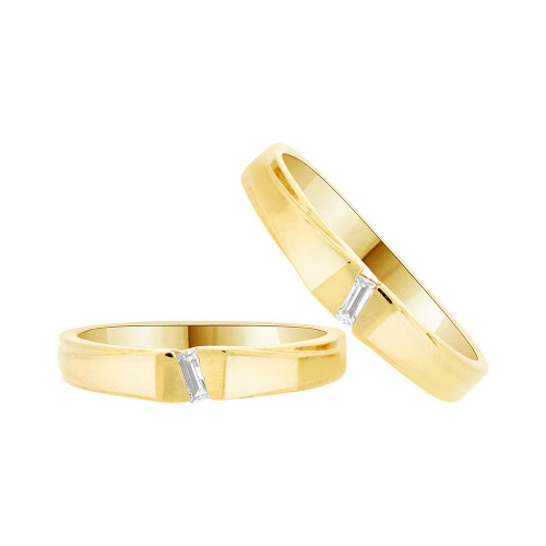 14k Yellow Gold, His & Her Duo 2 Piece Matching Bands Ring Set Cubic Zirconia (R057-009)