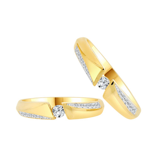 14k Yellow Gold White Rhodium, His & Her Duo 2 Piece Matching Bands Ring Set Cubic Zirconia (R057-010)