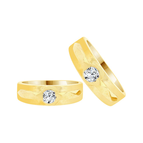 14k Yellow Gold, His & Her Duo 2 Piece Matching Bands Ring Set Cubic Zirconia (R057-012)