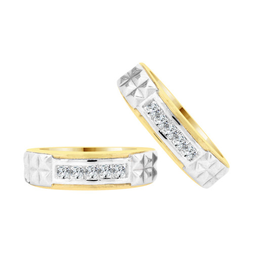14k Yellow & White Gold, His & Her Duo 2 Piece Matching Bands Ring Set Cubic Zirconia (R057-013)