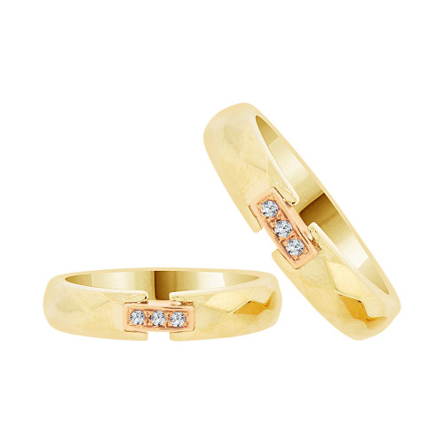 14k Yellow & Rose Gold, His & Her Duo 2 Piece Matching Bands Ring Set Cubic Zirconia (R057-014)