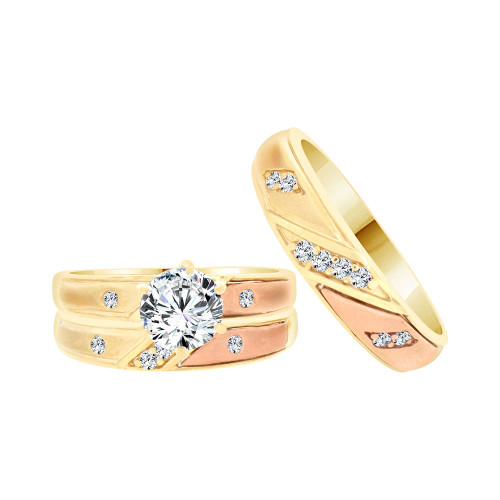 14k Tricolor Gold, Trio 3 Piece Wedding Ring Set Round Cubic Zirconia 1.0ct (R057-019)