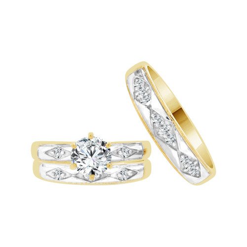 14k Yellow Gold White Rhodium, Trio 3 Piece Set Engagement Rings Round Cubic Zirconia 1.0ct (R057-020)