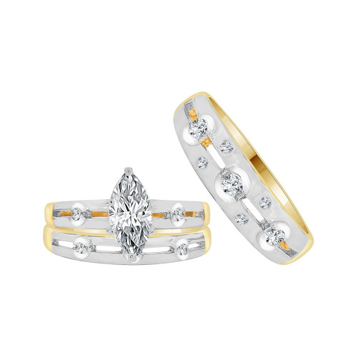 14k Yellow Gold White Rhodium, Trio 3 Piece Set Engagement Rings Marquise Cubic Zirconia 1.25ct (R057-021)