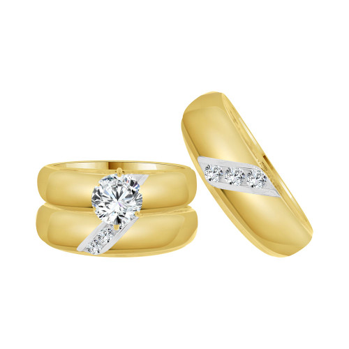 14k Yellow Gold, Matching Trio 3 Piece Set Engagement Rings Round Cubic Zirconia 1.25ct (R057-022)