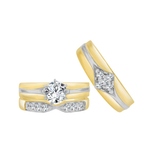 14k Yellow Gold White Rhodium, Trio 3 Piece Set Engagement Rings Round Cubic Zirconia 1.25ct (R057-023)