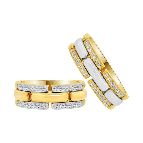 14k Yellow & White Gold, Panther Link Duo 2 Piece Matching Bands Ring Set Cubic Zirconia (R057-024)