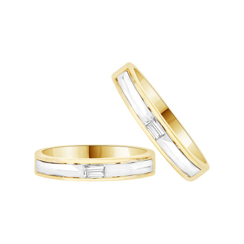 14k Yellow & White Gold, His & Her Duo 2 Piece Matching Bands Ring Set Cubic Zirconia (R057-025)