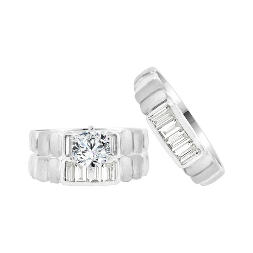 14k White Gold, Trio 3 Piece Set Engagement Rings Round Cubic Zirconia 1.0ct (R057-056)