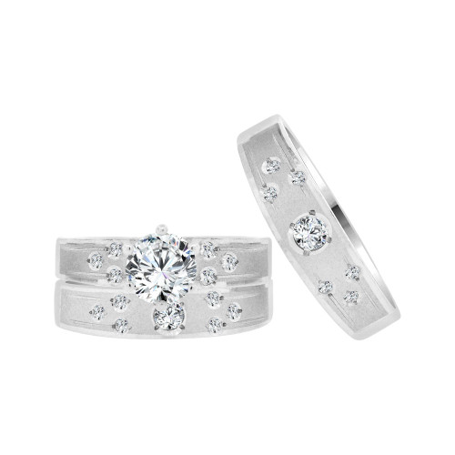 14k White Gold, Trio 3 Piece Set Engagement Rings Round Cubic Zirconia 1.0ct (R057-057)