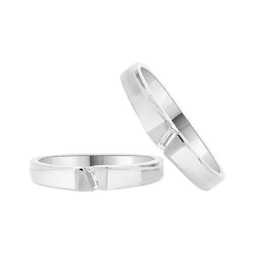 14k White Gold, His & Her Duo 2 Piece Matching Bands Ring Set Cubic Zirconia (R057-059)