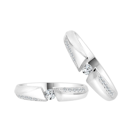 14k White Gold, His & Her Duo 2 Piece Matching Bands Ring Set Cubic Zirconia (R057-060)
