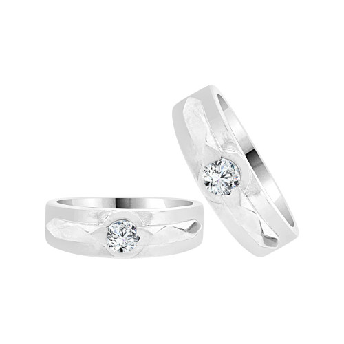 14k White Gold, His & Her Duo 2 Piece Matching Bands Ring Set Cubic Zirconia (R057-062)