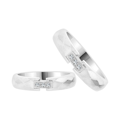 14k White Gold, His & Her Duo 2 Piece Matching Bands Ring Set Cubic Zirconia (R057-064)