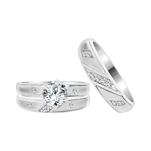 14k White Gold, Matching Trio 3 Piece Wedding Ring Set with Round Cubic Zirconia 1.0ct (R057-069)