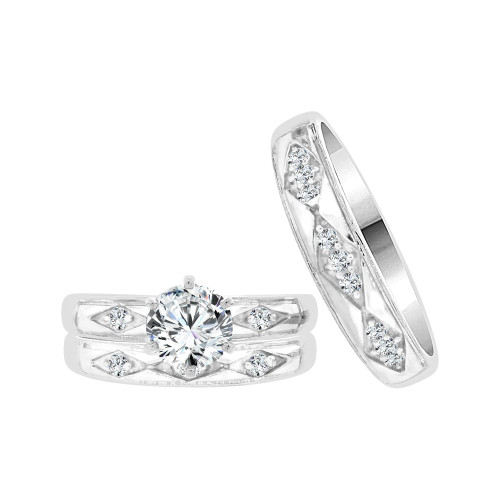 14k White Gold, Matching Trio 3 Piece Set Engagement Rings Round Cubic Zirconia 1.0ct (R057-070)