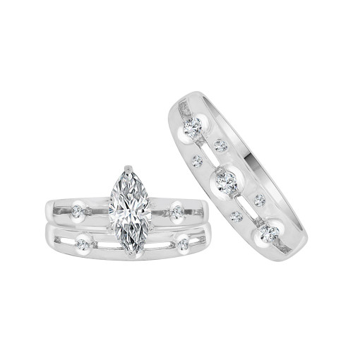 14k White Gold, Trio 3 Piece Set Engagement Rings Marquise Cubic Zirconia 1.25ct (R057-071)