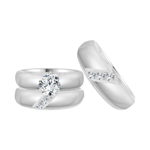 14k White Gold, Matching Trio 3 Piece Set Engagement Rings Round Cubic Zirconia 1.25ct (R057-072)