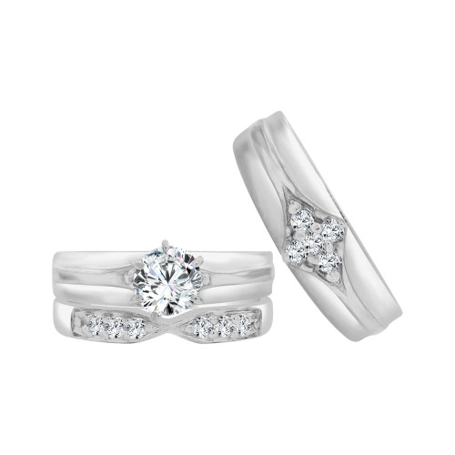 14k White Gold, Matching Trio 3 Piece Set Engagement Rings Round Cubic Zirconia 1.25ct (R057-073)