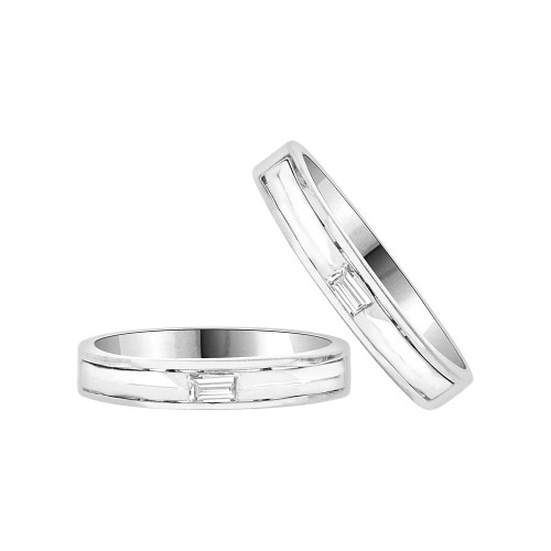 14k White Gold, His & Her Duo 2 Piece Matching Bands Ring Set Cubic Zirconia (R057-075)