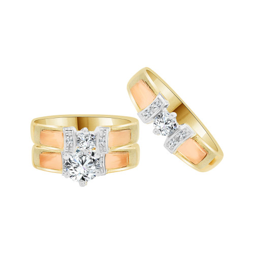 14k Tricolor Gold, Trio 3 Piece Wedding Ring Set Round Cubic Zirconia 1.0ct (R058-001)