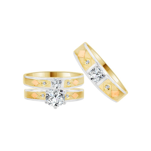 14k Tricolor Gold, Trio 3 Piece Wedding Ring Set  Round Cubic Zirconia 1.0ct (R058-003)