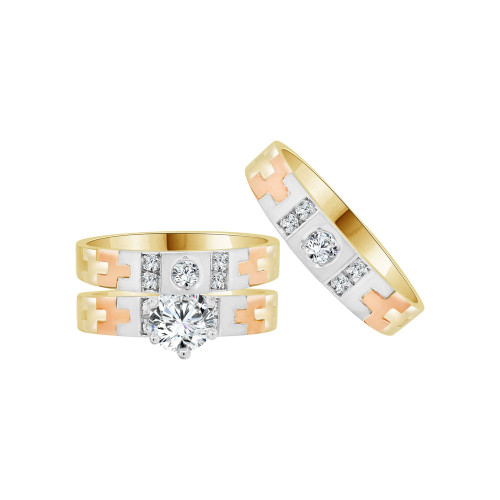 14k Tricolor Gold, Trio 3 Piece Wedding Ring Set Cubic Zirconia 1.0ct (R058-004)