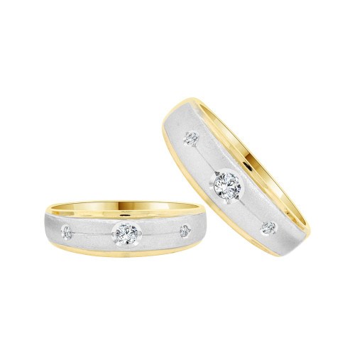14k Yellow Gold White Rhodium, His & Her Duo 2 Piece Bands Ring Set Cubic Zirconia (R058-006)