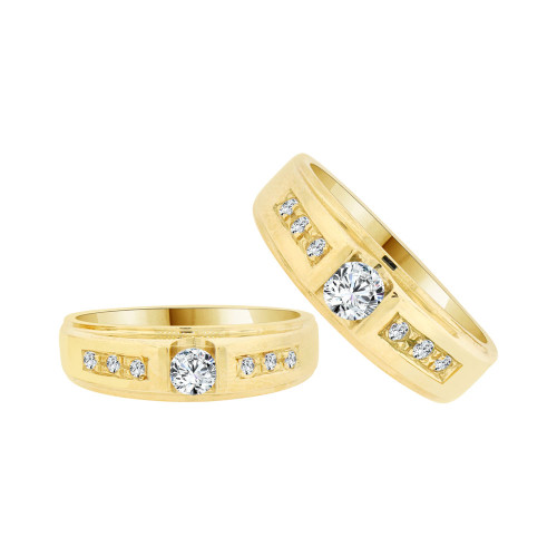 14k Yellow Gold, His & Her Duo 2 Piece Matching Bands Ring Set Cubic Zirconia (R058-007)