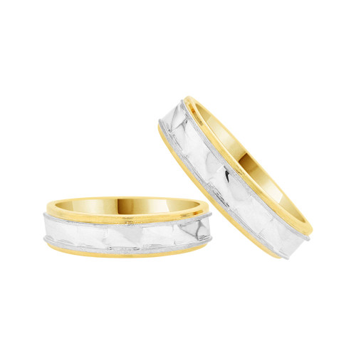14k Yellow & White Gold, Facetted Fancy Duo 2 Piece His & Her Bands Ring Set (R058-008)