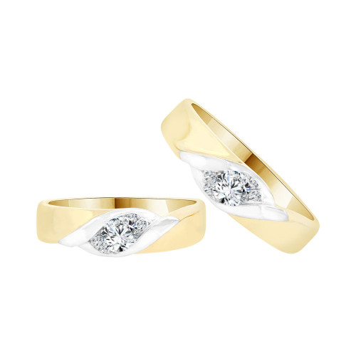 14k Yellow Gold White Rhodium, His & Her Duo 2 Piece Bands Ring Set Cubic Zirconia (R058-009)