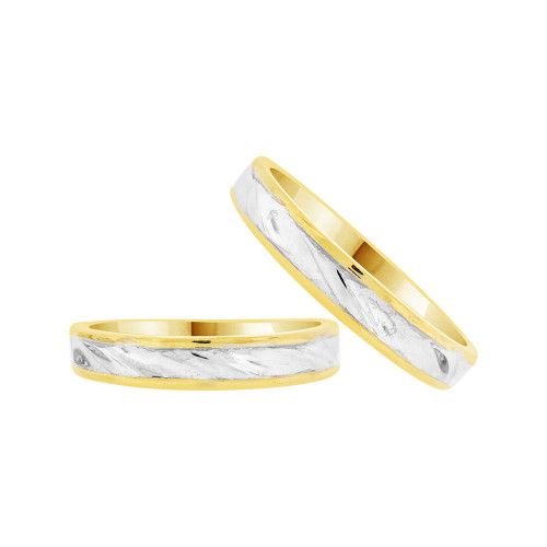 14k Yellow & White Gold, Facetted Fancy Duo 2 Piece His & Her Bands Ring Set (R058-010)