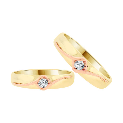 14k Yellow & Rose Gold, Duo 2 Piece His & Her Bands Ring Set Cubic Zirconia (R058-011)