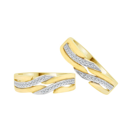 14k Yellow Gold White Rhodium, Fancy Duo 2 Piece Matching Band Rings Cubic Zirconia (R058-012)
