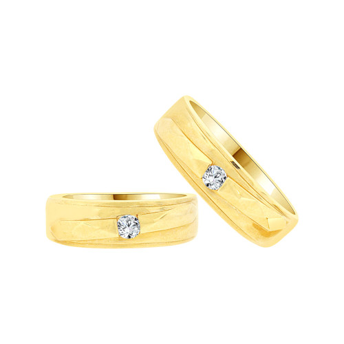 14k Yellow Gold, Fancy Duo 2 Piece His & Her Bands Ring Set Cubic Zirconia (R058-013)