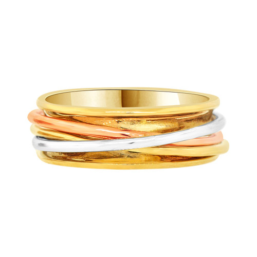 14k Tricolor Gold, Lady's Fancy Wire Woven Design Band Ring Size 7 (R058-014)