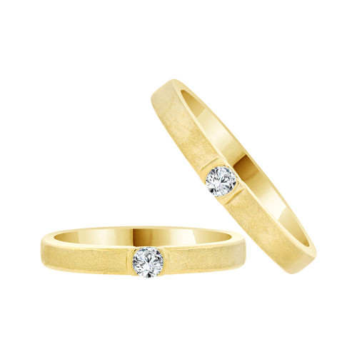 14k Yellow Gold, Fancy Duo 2 Piece His & Her Bands Ring Set Cubic Zirconia (R058-015)