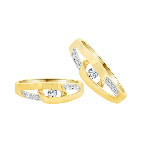 14k Yellow Gold White Rhodium, Fancy Duo 2 Piece Matching Band Rings Cubic Zirconia (R058-016)