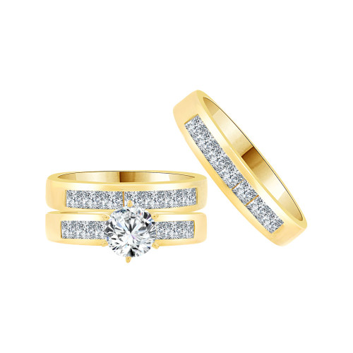 14k Yellow Gold, Trio 3 Piece Set Engagement Wedding Rings Round Cubic Zirconia (R058-019)