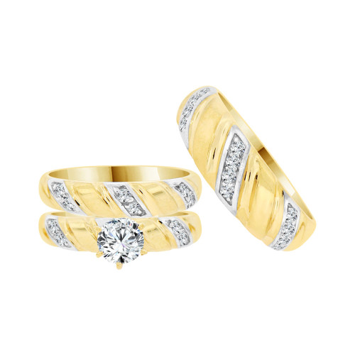 14k Yellow Gold White Rhodium, Trio 3 Piece Set Engagement Rings Round Cubic Zirconia (R058-020)