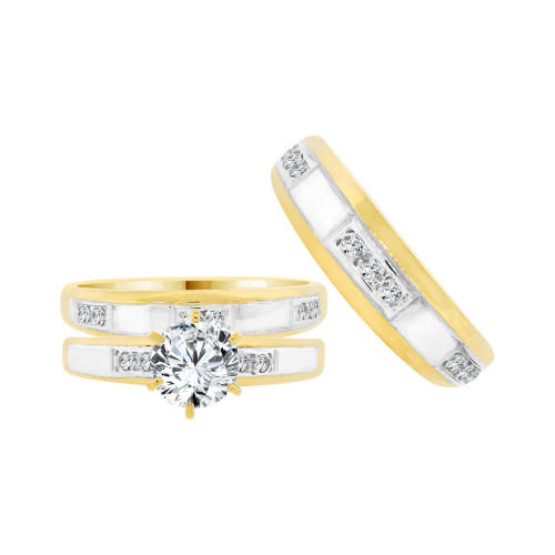 14k Yellow Gold White Rhodium, Trio 3 Piece Set Engagement Rings Round Cubic Zirconia (R058-021)