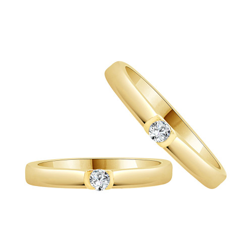 14k Yellow Gold, Fancy Polished Duo 2 Piece Matching Bands Ring Set Cubic Zirconia (R058-022)